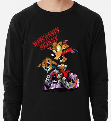 Wisconsin Skinny Hotrod Wolf Lightweight Sweatshirt