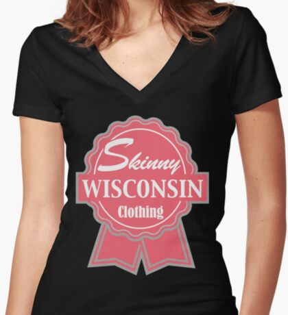 Wisconsin Skinny Pink Badge of Honor Women's Fitted V-Neck T-Shirt