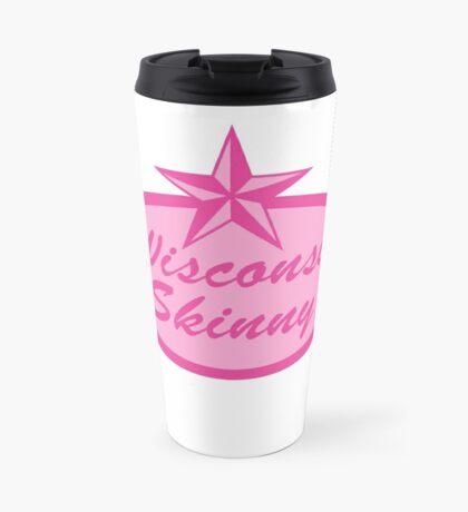 Wisconsin Skinny Logo Pink Travel Mug