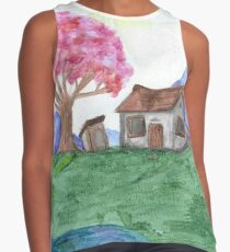 Chinese Cottage in Spring Contrast Tank