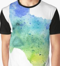 Watercolor Map of Texas, USA in Blue and Green  Graphic T-Shirt