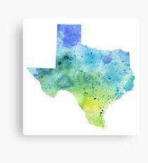Watercolor Map of Texas, USA in Blue and Green  Canvas Print