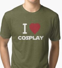 I Heart Cosplay White Text   (Clothing & Stickers)  Tri-blend T-Shirt