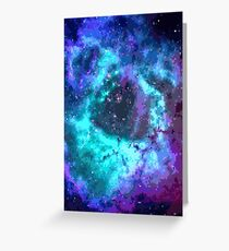 Pixel Blue Purple Nebula Greeting Card