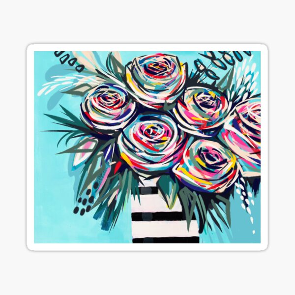 Rainbow roses in striped vase romantic painting modern acrylic flowers bouquet wall art Sticker