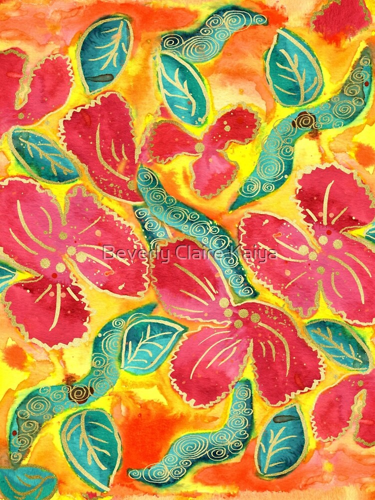 Watercolor Painting Tropical Red Hibiscus Gold Glitter by beverlyclaire
