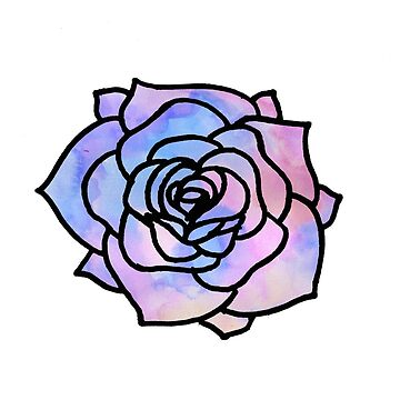 Watercolor Outline Rose by phronemophobe