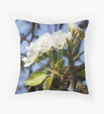 white flowers on trees Throw Pillow