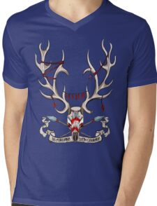 Go Foward With Courage - Stag Skull Mens V-Neck T-Shirt