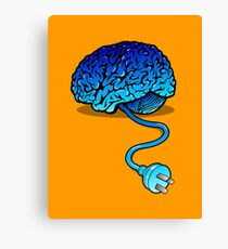 Your Brain without Coffee - Blue Canvas Print