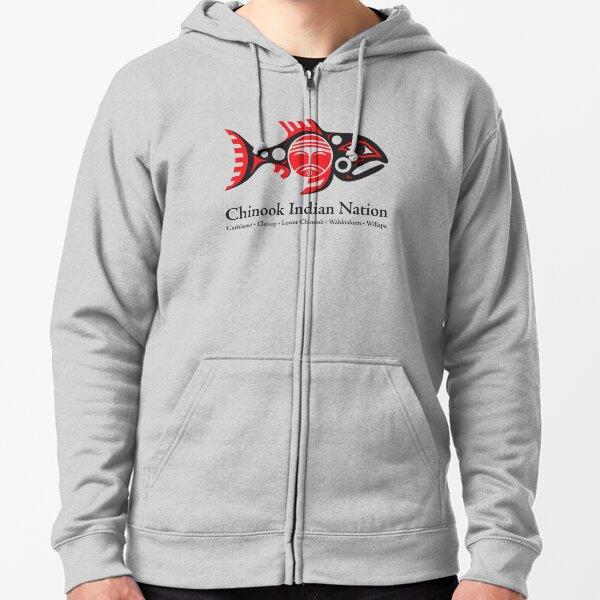 Chinook Indian Nation Tribal Logo, horizontal Zipped Hoodie
