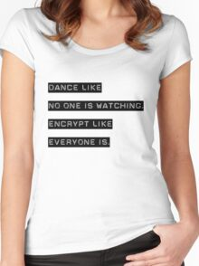 Encrypt like everyone is watching (B&W BG) Women's Fitted Scoop T-Shirt