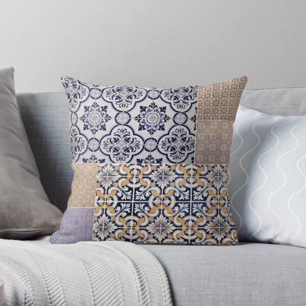 Portuguese Tile Collage Throw Pillow