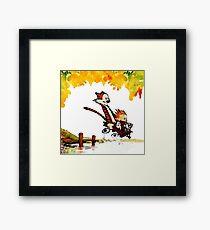Play on lake Calvin and Hobbes Framed Print