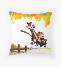 Play on lake Calvin and Hobbes Throw Pillow