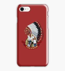 Native American Indian old profile war bonnet freedom. iPhone Case/Skin