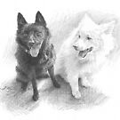 black dog, white dog drawing by Mike Theuer