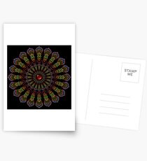 Kaleidoscope Mandala with Red Gemstone Postcards
