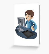 Computer Man Caricature #1 - Brown Hair Teen Greeting Card