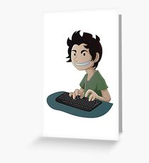 Computer Man Caricature #4 - Young Teen Kid Greeting Card