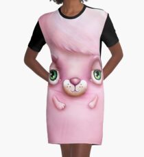 Cute Fluffy Monster in Pink Graphic T-Shirt Dress