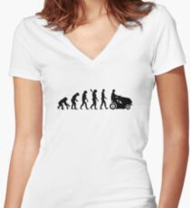 Evolution lawn mower Women's Fitted V-Neck T-Shirt