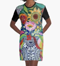 Late Summer Blooms Graphic T-Shirt Dress