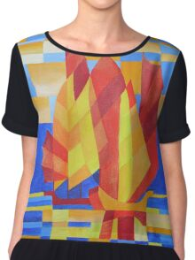 Sailing on the Seven Seas so Blue Cubist Abstract Women's Chiffon Top
