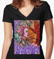 Winged Hearts Women's Fitted V-Neck T-Shirt