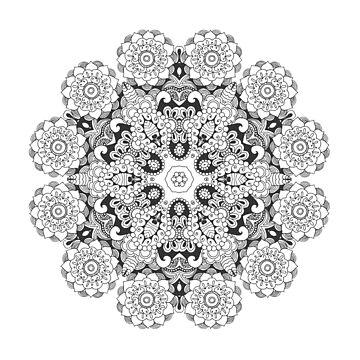 Beautiful black white floral mandala by palomita222