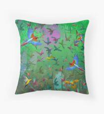 Paradise Parrots Throw Pillow