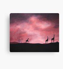 Three giraffes silhouette Canvas Print