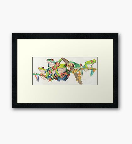 Red-Eyed Tree Frogs Framed Print