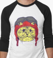 Moto Kitty Always Wears a Helmet for Safety Men's Baseball ¾ T-Shirt