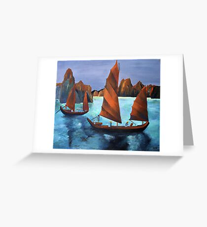 Junks In the Descending Dragon Bay Greeting Card