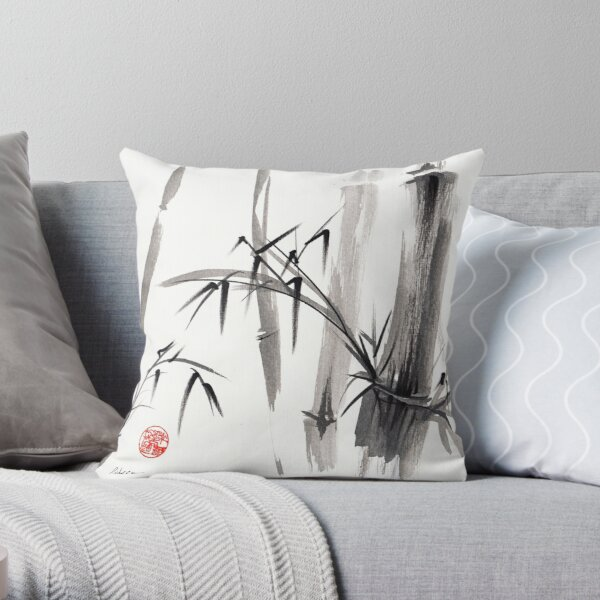 'after the rain' Original ink wash painting Throw Pillow