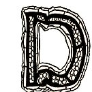 Upper case black and white alphabet Letter D by HEVIFineart