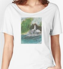Pt Atkinson Lighthouse BC Canada Nautical Map Cathy Peek Women's Relaxed Fit T-Shirt
