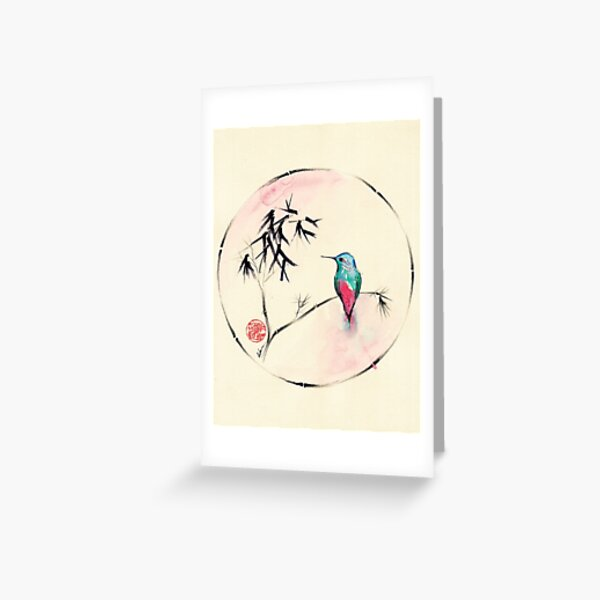 'Little Muse'   hummingbird watercolor painting Greeting Card