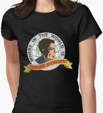Where in the World is Edward Snowden? Womens Fitted T-Shirt