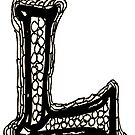 Upper case black and white alphabet Letter L by HEVIFineart