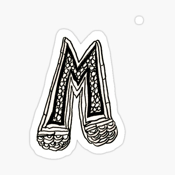 Upper case black and white alphabet M Sticker