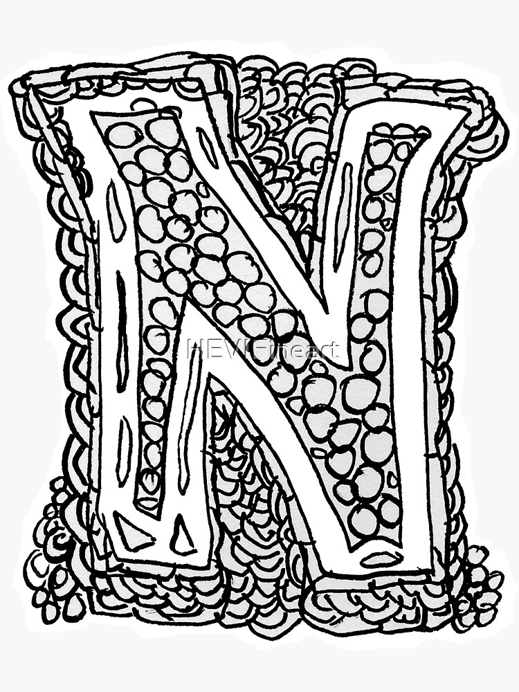 Upper case black and white alphabet N by HEVIFineart