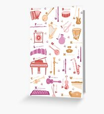 Musical Instrument Alphabet Greeting Card