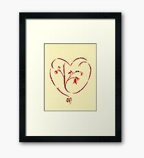 I Love You Too - Bamboo Heart & Ladybug Love Painting Framed Print
