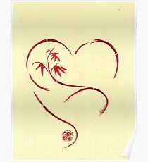 FOREVER YOURS,  Sumi-e Enso Ink Brush Pen Heart Painting Poster