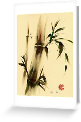 """""""Calm""""  Sumi Sumie bamboo painting by Rebecca Rees"""