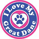 I LOVE MY GREAT DANE DOG HEART I LOVE MY DOG PET PETS PUPPY STICKER STICKERS DECAL DECALS by MyHandmadeSigns