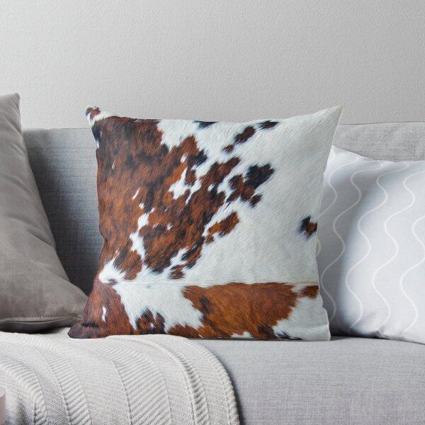 Rustic cow faux fur, cowhide Throw Pillow