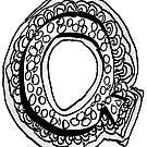Upper case black and white alphabet Letter Q by HEVIFineart